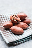 Pecan nuts in the shell on a checked cloth