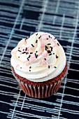 A chocolate cupcake with decorative sprinkles