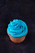 A vanilla cupcake topped with blue buttercream icing