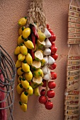 Ceramic Lemons, Garlic and Tomatoes Hanging from a Shop Wall in Cefalu, Sicily
