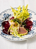 Dandelion salad with smoked trout, trout caviar and beetroot