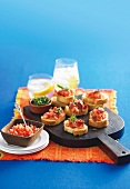 Tomato and bacon crostini with fresh thyme