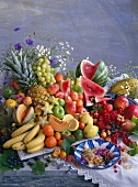 Assorted types of fruit on a table