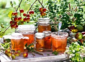 Several jars of apple jelly in the garden, with sprigs of mint and crab-apples
