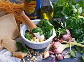 Zutaten für Pesto im Mörser