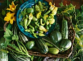 A still life of courgettes, courgette flowers and summer squash in a basket