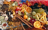 Assorted crystallised fruits and spices for baking