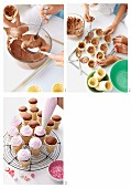 Making chocolate cupcakes in wafer cones