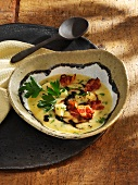 Quince and parsnip soup with bacon