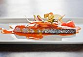 Salmon Steak Smothered in Paprika Sauce