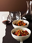 A salad of braised vegetables and beetroot