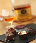 Assorted Homemade Chocolates; Snifter of Scotch