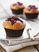 Berry muffins in paper cases