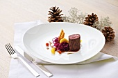 Saddle of venison with red cabbage and apple, for Christmas