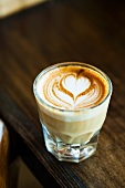 Latte with a Heart Design in a Glass