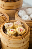 Siu Mai (Steamed Chinese Dumplings) in a Bamboo Steamer