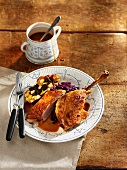 Traditional roast duck with red cabbage and stuffing