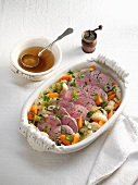 Poached ox fillet with vegetables