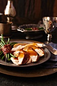 Roasted turkey with bacon-wrapped beans