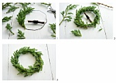 A wreath being made from conifer branches