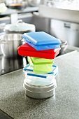 A stack of Tupperware