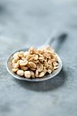 A small bowl of peanuts