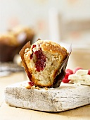 Chocolate and raspberry muffin, cut open