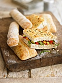 Focaccia vegetale (flatbread with fried vegetables, Italy)