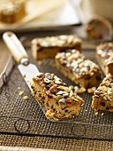 Fruit cake with toffee and nuts