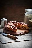 Cinnamon bread on a wooden slab