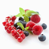 Raspberries, currants and blueberries (no background)