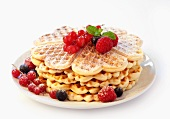 Waffles with raspberries, blueberries and currants (no background)