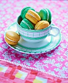 Green and yellow macaroons in a cup