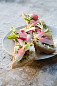 Slices of bread and butter topped with radishes and chives