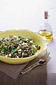 Green lentil and pea salad with feta cheese