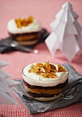 Christmas chocolate trifle with oranges and almond brittle