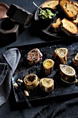 Roasted marrow bones with grilled bread
