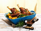 Lamb shanks with potatoes and green beans