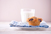 A blueberry muffin and a glass of milk