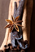 Cinnamon sticks, vanilla pods and a star anise