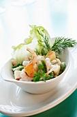 Swedish prawn salad with peas and dill
