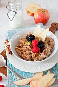 A Bowl of Oatmeal with Apples, Berries and Cinnamon