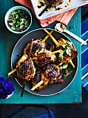 Chicken, lemongrass and turmeric on sugar cane skewers