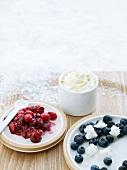 Cranberrykompott mit Schlagsahne und Blaubeeren mit Faisselle