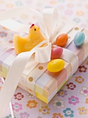 An Easter parcel with fondant chicks and sugar eggs