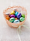 An Easter basket with chocolate eggs