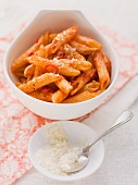 Penne arrabiata with parmesan