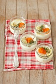 Eggs in glasses with thyme