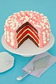 Layer cake with raspberry jam