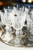 Aperitif Glasses on a Silver Tray